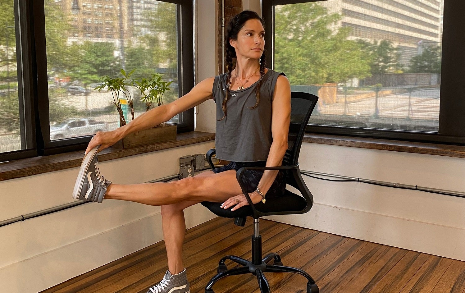 Lynda Gehrman demonstrates a seated calf raise