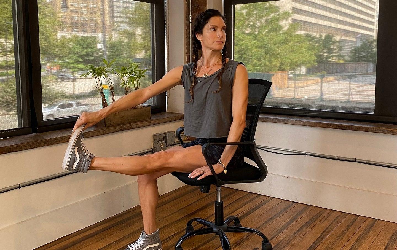 Lynda Gehrman demonstrates a seated calf raise
