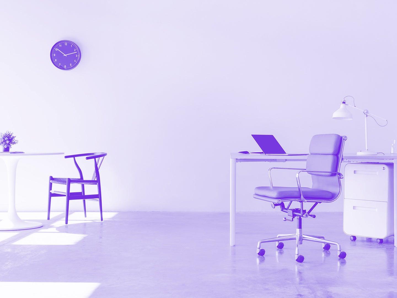 purple monochrome photo modern sparse office