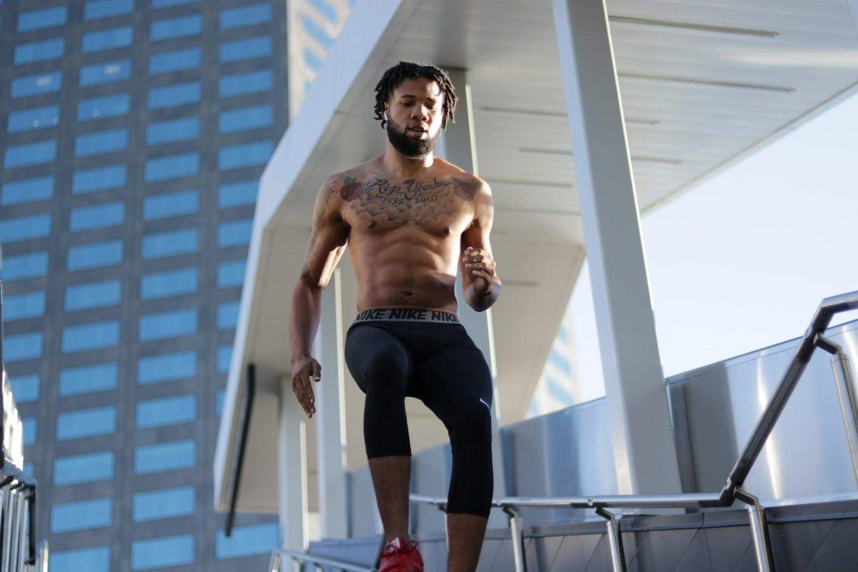 man running down stairs