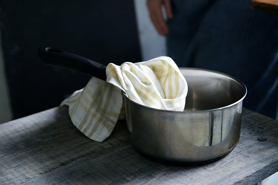 kitchen towel in a pot