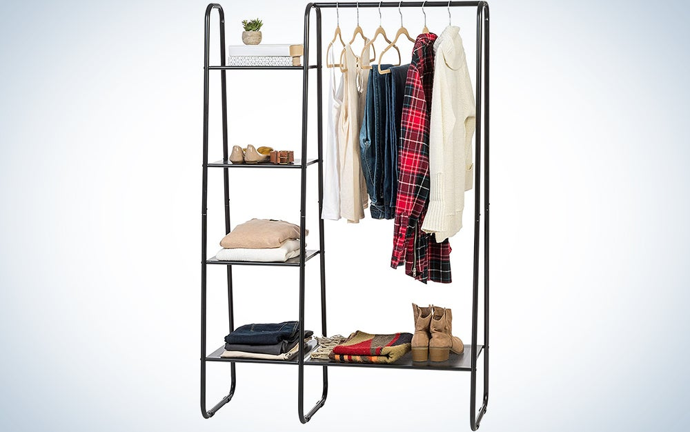 Iris USA PI-B6 Garment Rack with Metal Mesh Shelves