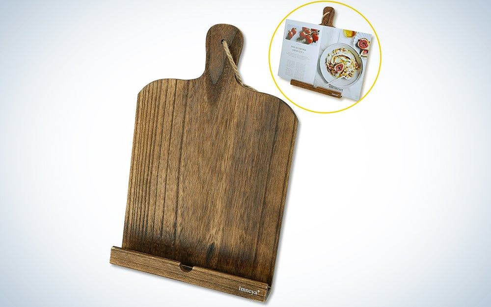 Cookbook Holder, Cutting Board Wood Recipe Book iPad Tablet Stands, Portable Sturdy Lightweight Elegant Bookstand Tray with Kickstand for Kitchen, Restaurant, Pub, Brown
