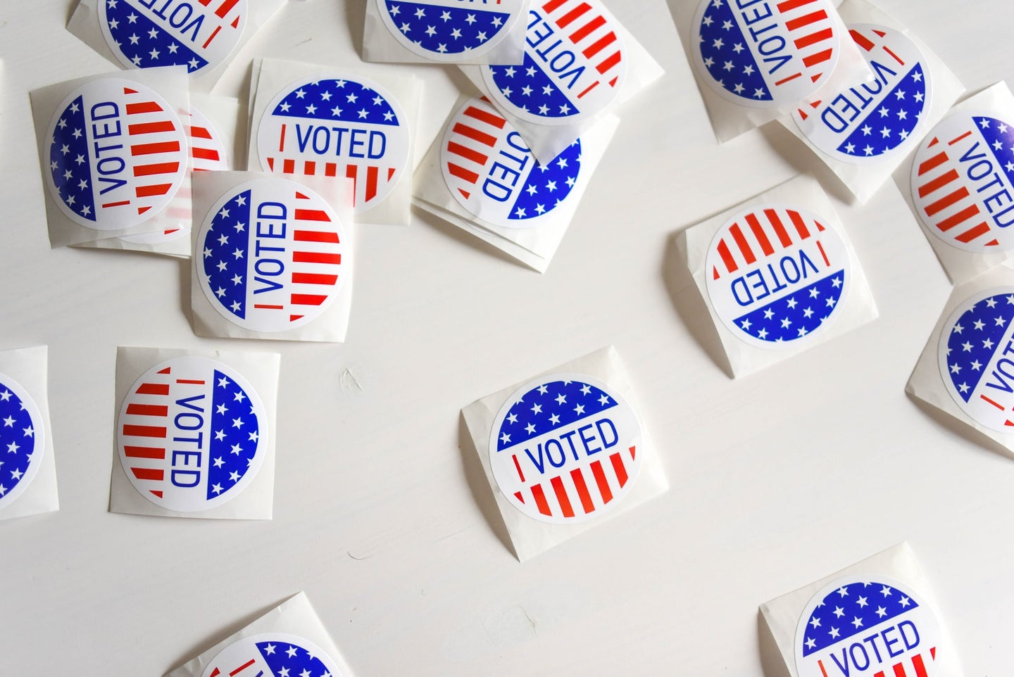 """A spread of """"I Voted"""" stickers"""