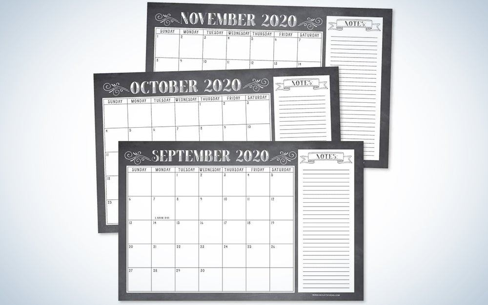 Chalkboard Rustic 2020-2021 Large Monthly Desk or Wall Calendar