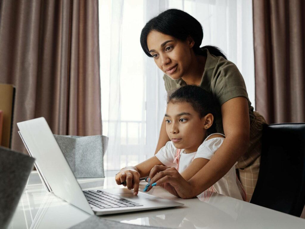 Mother and daughter distance learning