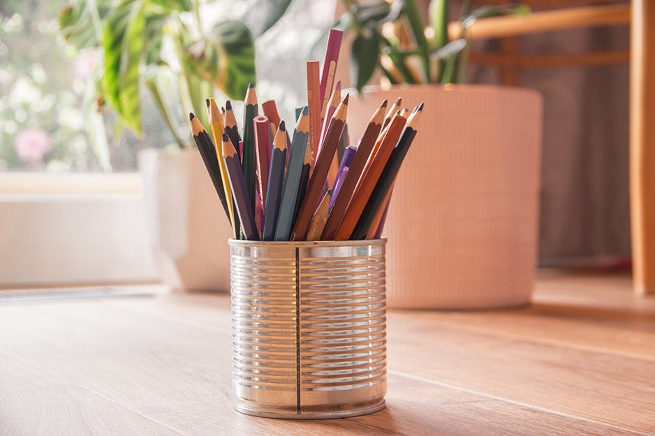 pencils in a tin