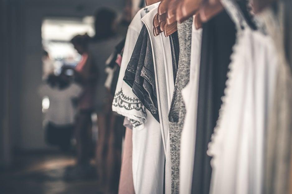 clothing on racks