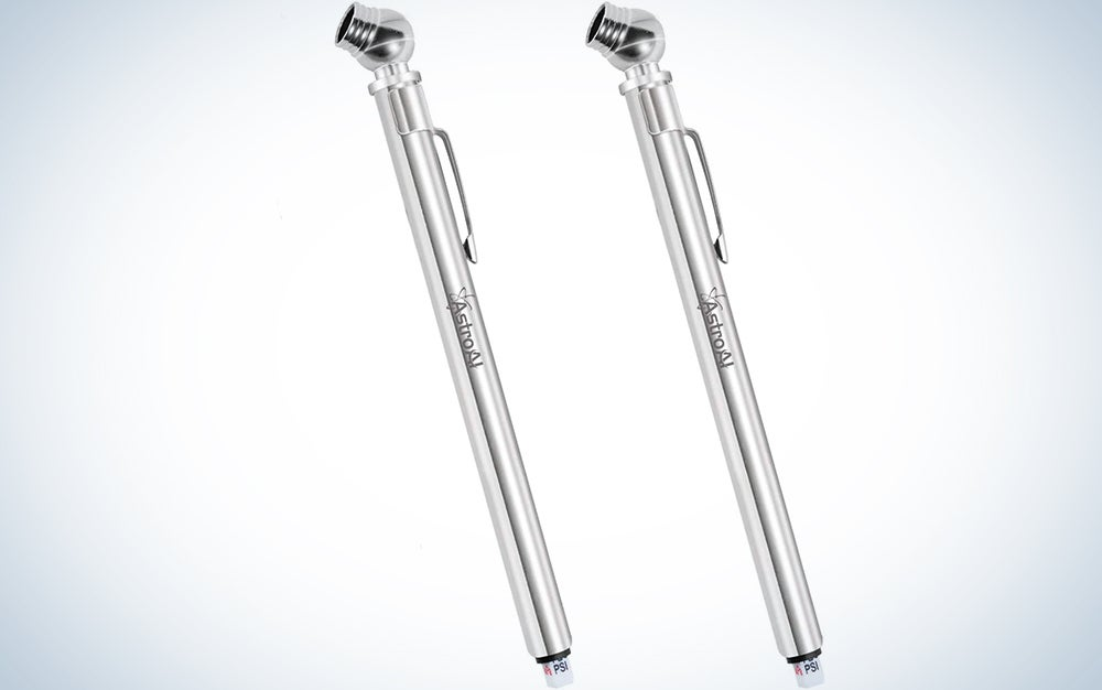 AstroAI Pencil Tire Pressure Gauge (10-75PSI) Metal Made Nozzle for Small Vehicles (2 Pack)