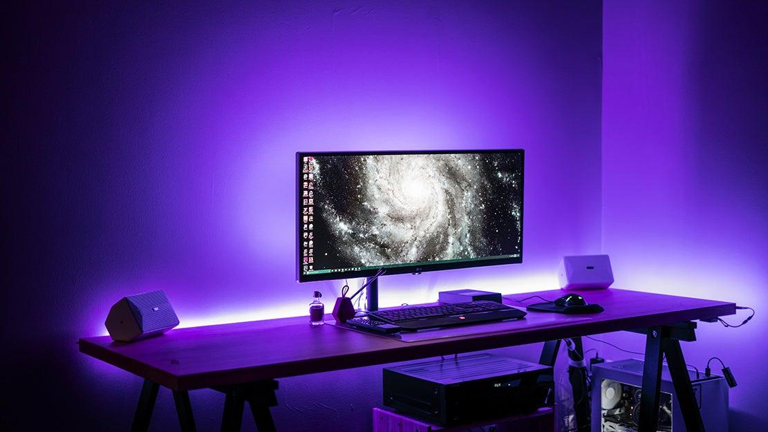 computer with purple lights