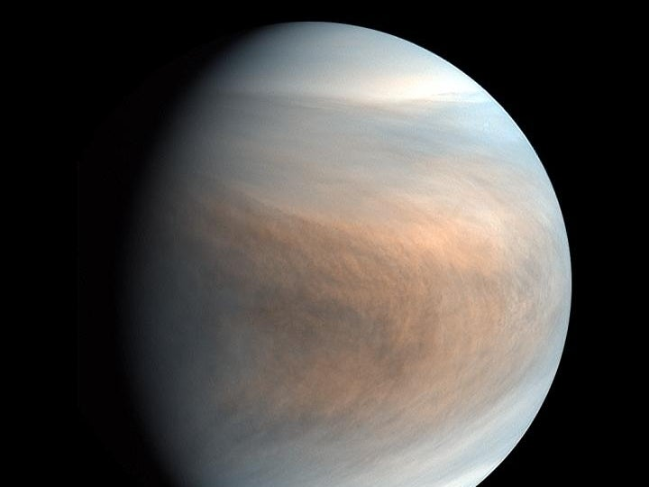 Synthesized false color image of Venus, using 283-nm and 365-nm band images taken by the Venus Ultraviolet Imager (UVI).