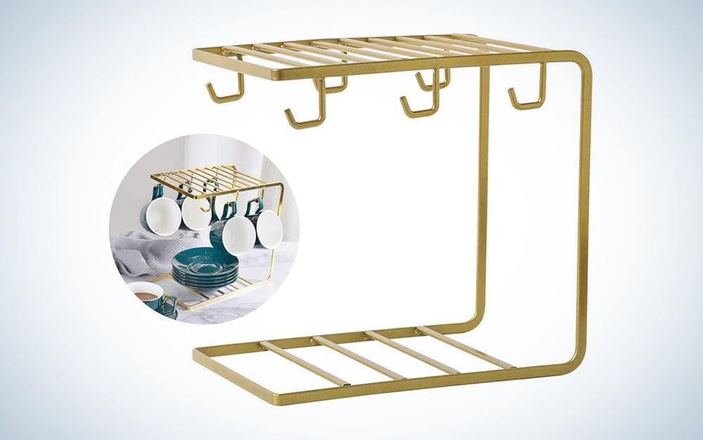 Yontree 6 Hooks Metal Coffee Mug Cup Holder Rack
