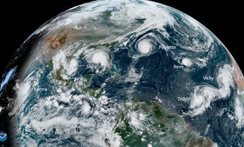 A nearly unprecedented cluster of tropical storms are brewing in the Atlantic