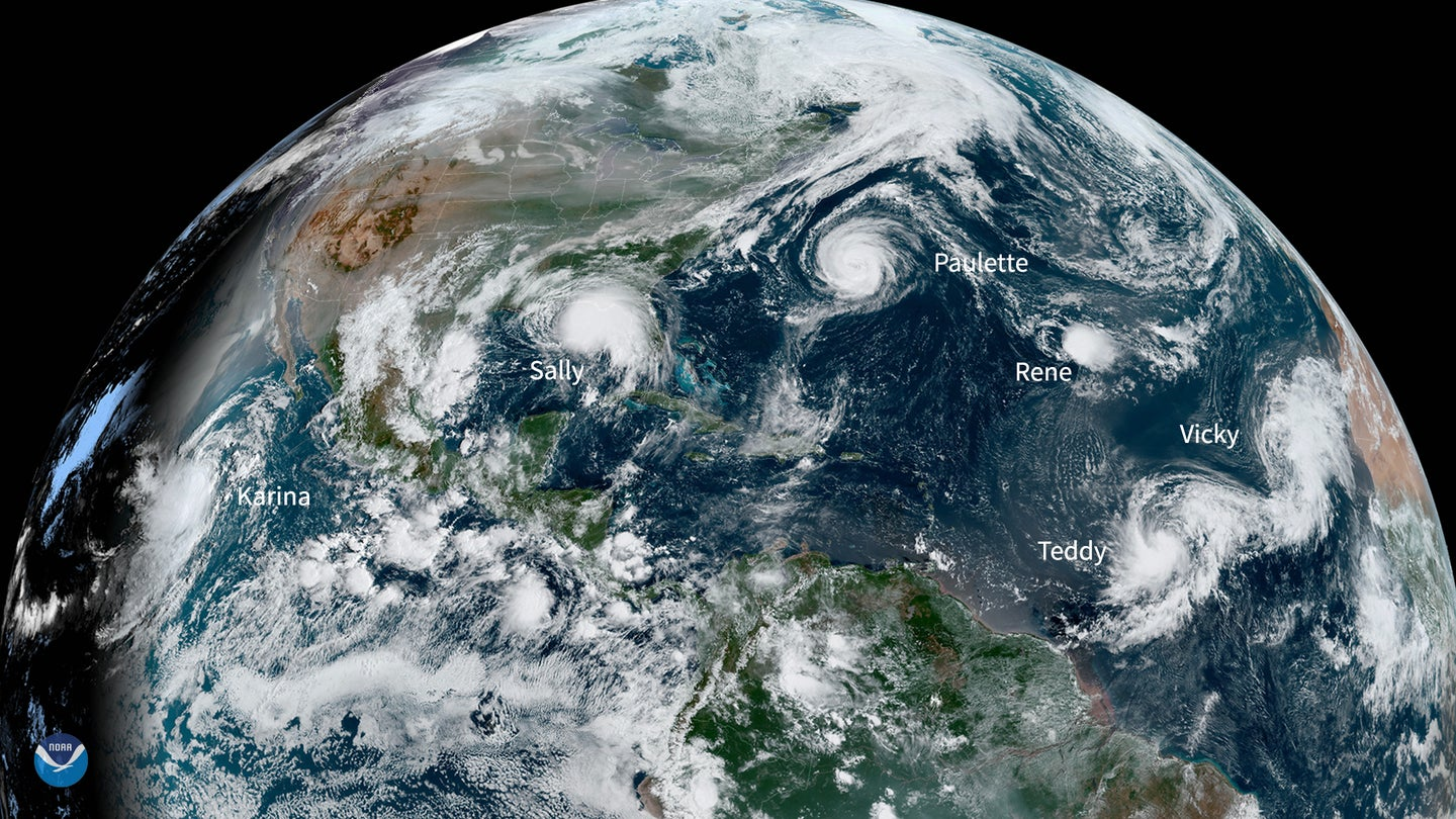 satellite image of five storm systems in Atlantic September 2020