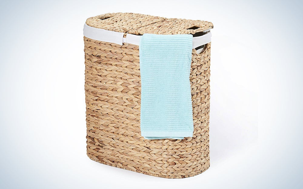 Seville Classics Water-Hyacinth Lidded Oval Double Laundry Hamper