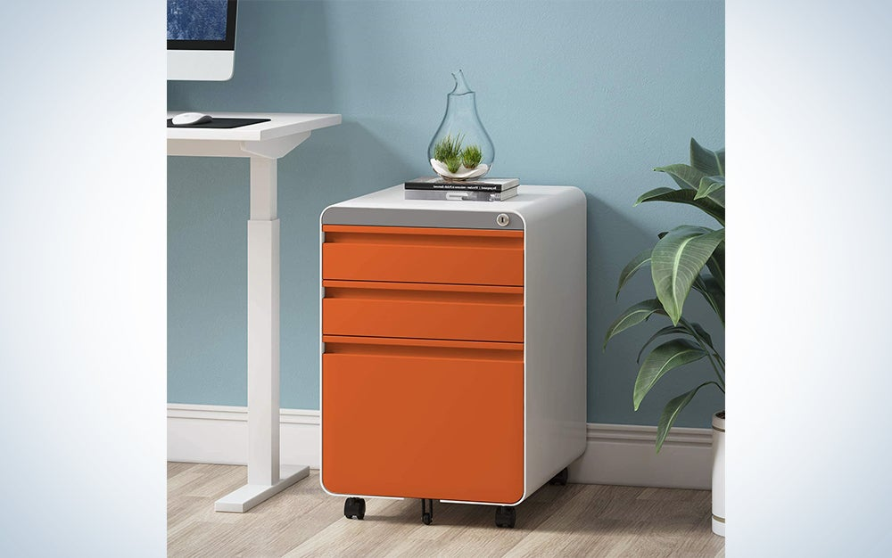 Dprodo 3 Drawers Mobile File Cabinet with Lock