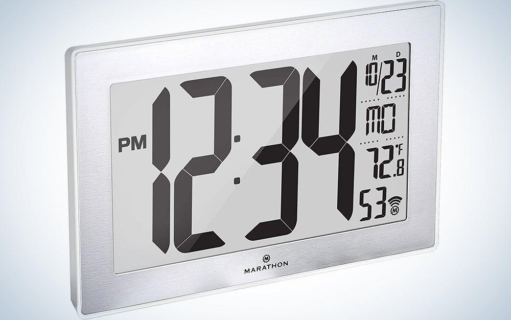 Marathon Slim Panoramic Atomic Full Calendar Wall Clock