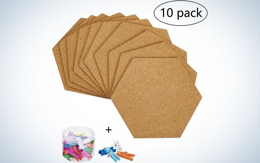 10 Pack Self-Adhesive Cork Board Tiles Mini Wall Bulletin Board