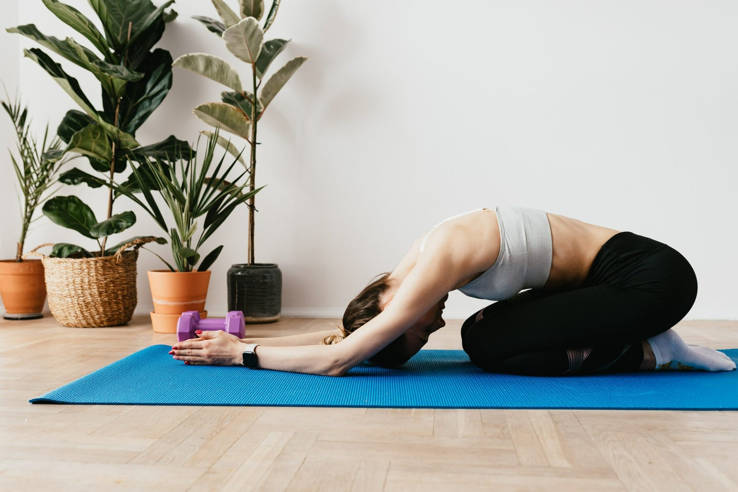 Woman stretching.
