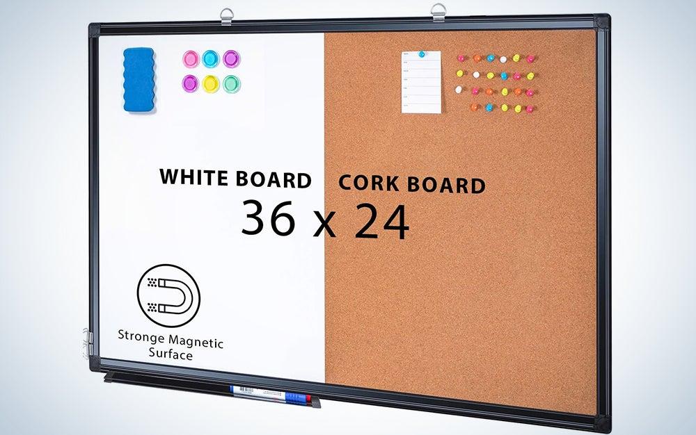 Combination Board, 36 x 24 Magnetic Whiteboard & Cork Board