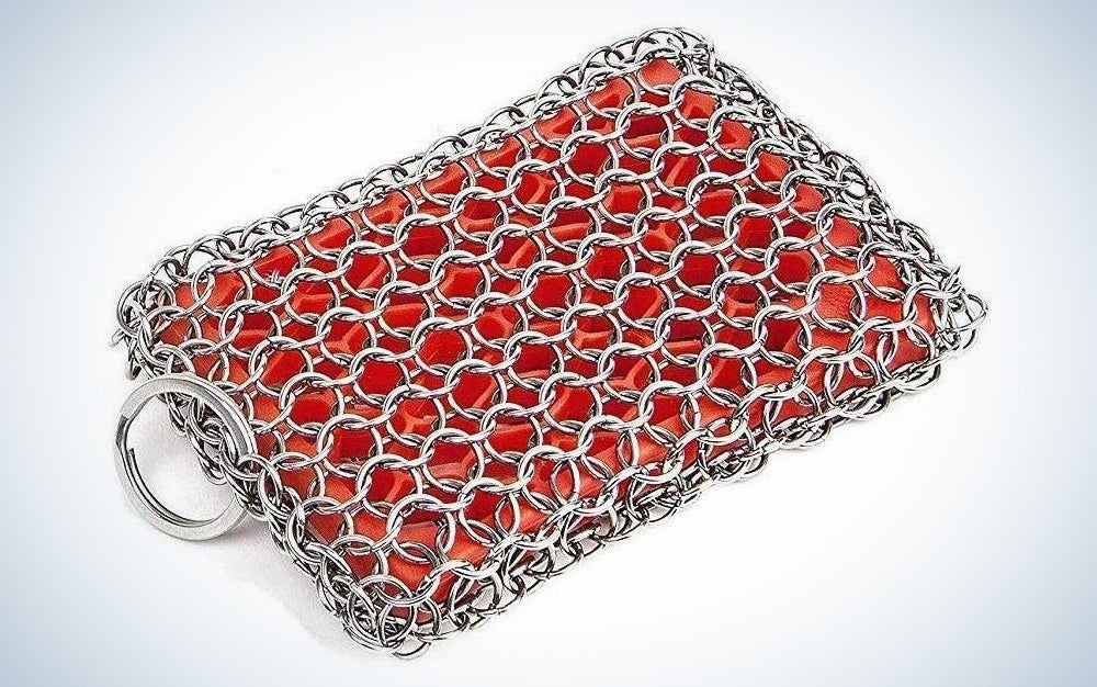 KITCHEN-PRO Cast Iron & Pyrex & Stainless Steel skillet Chainmail scrubber