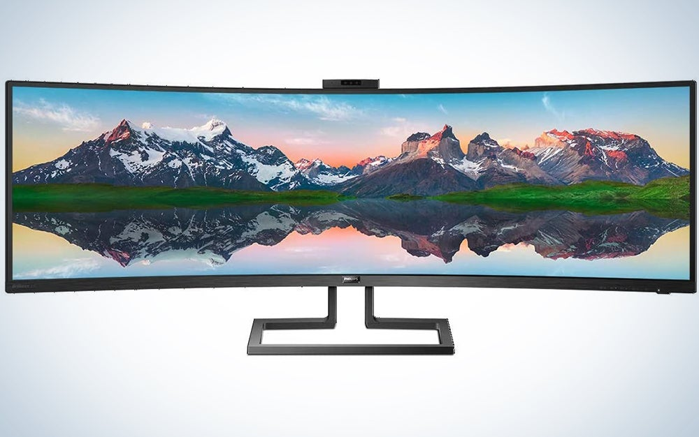 """Philips Brilliance 499P9H 49"""" SuperWide Curved Monitor, Dual QHD 5120x1440 32:9, USB-C connectivity and built-in KVM Switch, Pop-Up Webcam, Height Adjustable, LightSensor, 4Yr Advance Replacement Warr"""