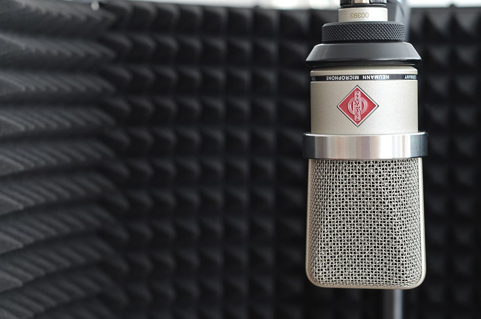microphone in front of a vocal shield