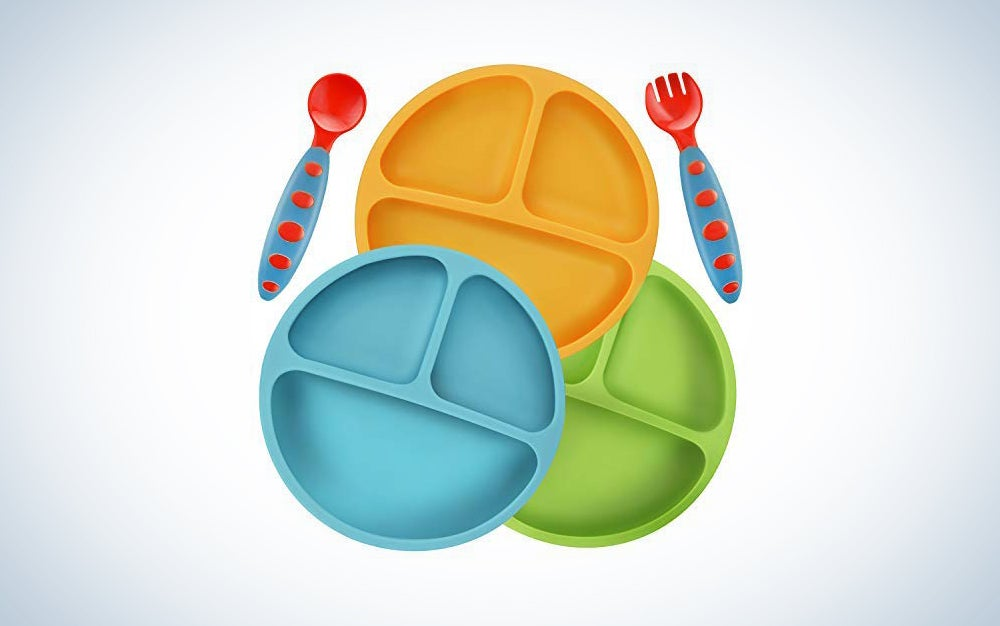 PandaEar Divided Unbreakable Silicone Baby and Toddler Plates