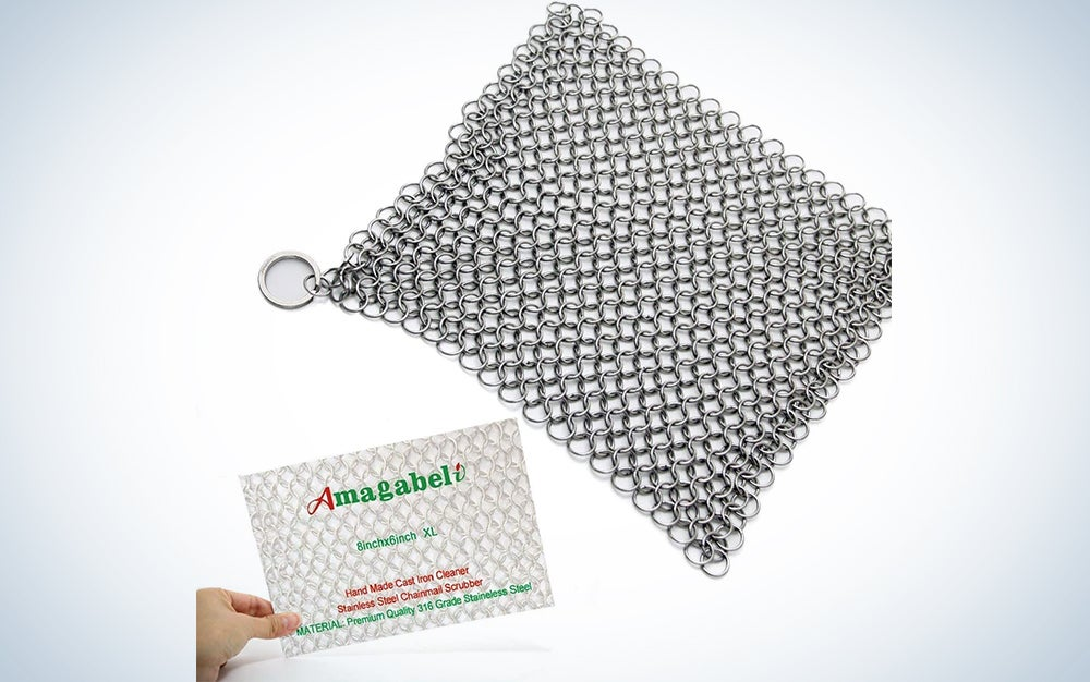 Amagabeli 8″x6″ Stainless Steel Cast Iron Cleaner