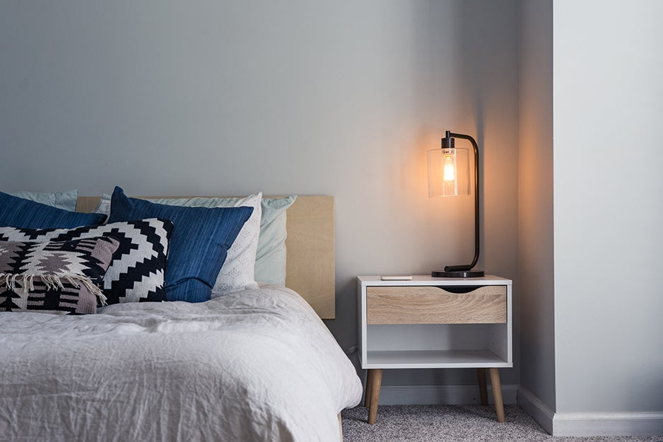 bed and a bedside table