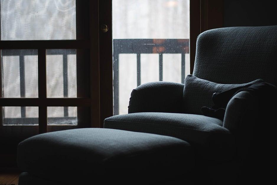 fabric armchair in the dark