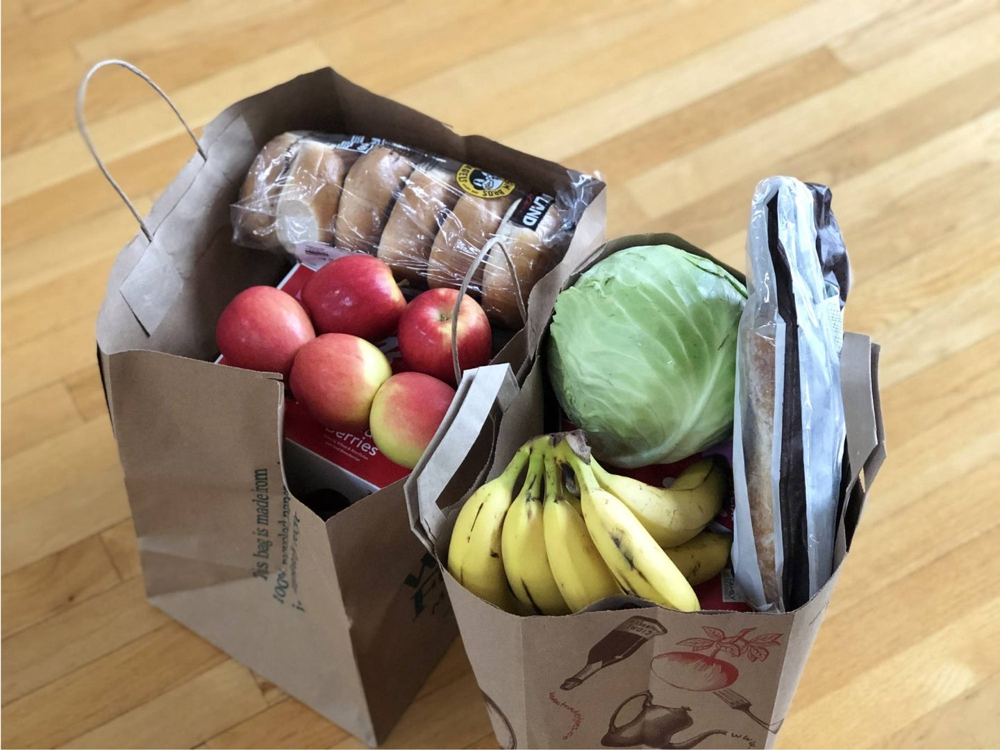Bags with groceries