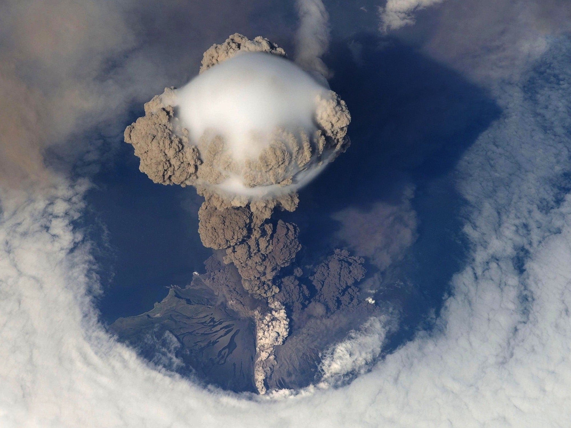 view from above an erupting volcano