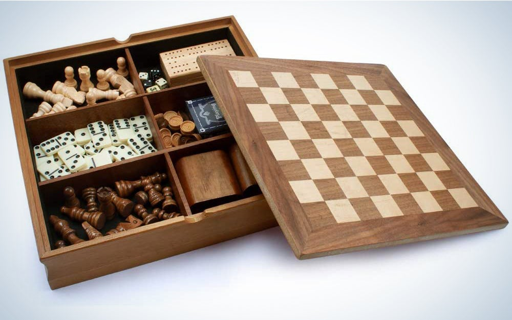 Wooden 7-in-1 Chess, Checkers, Backgammon, Playing Cards, Dominoes and Cribbage Board Game Combo Set