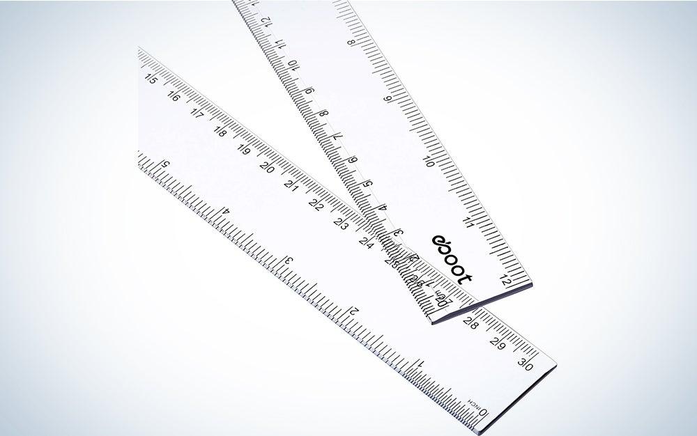 2 Pack Plastic Ruler Straight Ruler Plastic Measuring Tool for Student School Office