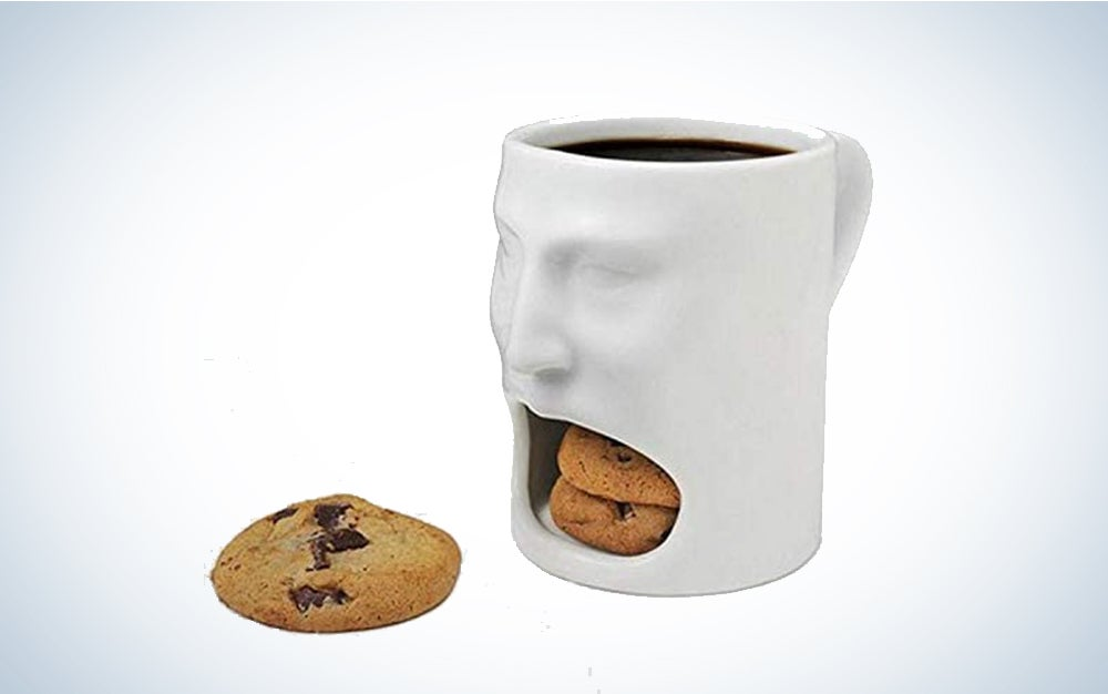 Teska 3d Face Coffee Mug With Double Cookie Compartment
