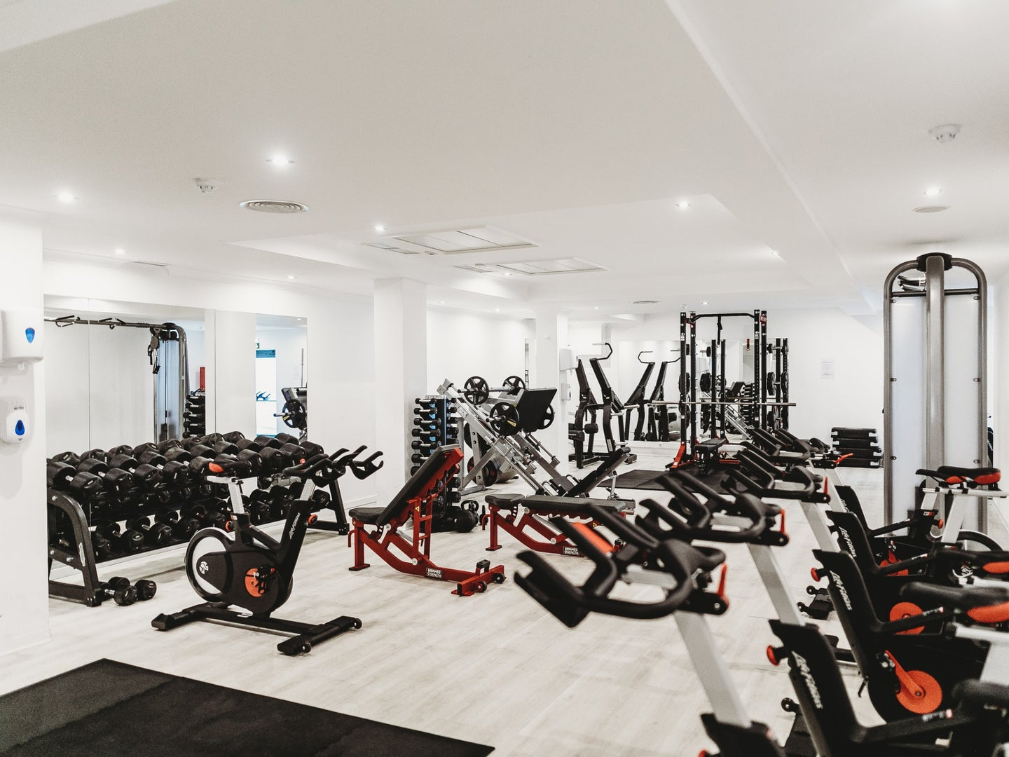 a gym full of exercise equipment