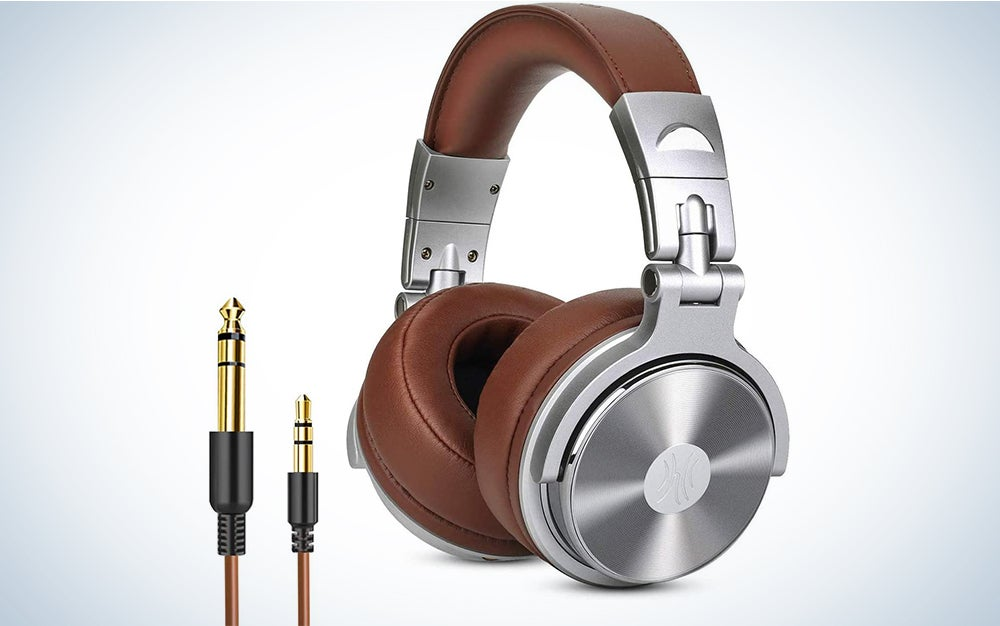 Over Ear Headphone, Wired Premium Stereo Sound Headsets with 50mm Driver, Foldable Comfortable Headphones with Protein Earmuffs and Shareport for Recording Monitoring Podcast PC TV- with Mic