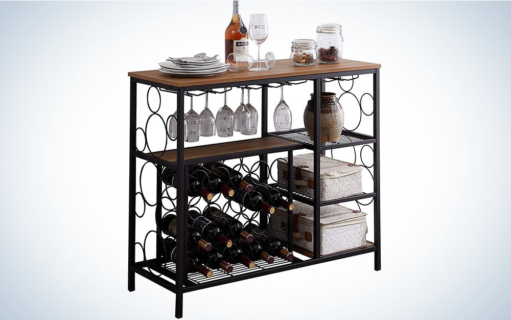 Hombazaar Industrial Wine Rack Table with Glass Holder and Wine Storage