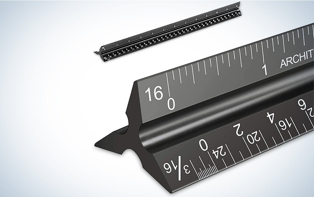 Architectural Scale Ruler, Imperial Measurements 12'', Laser-Etched Aluminum Architect Triangular Ruler Black for Architects, Students, Draftsman, and Engineers
