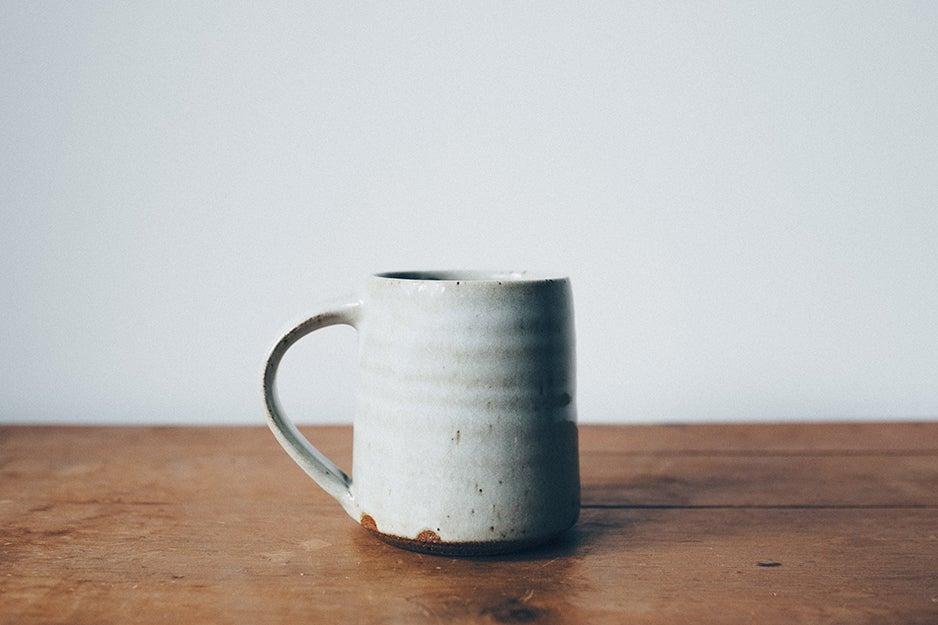 mug on a wooden table