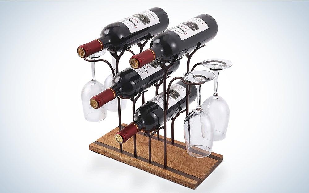 Tabletop Wood Wine Holder, Countertop Wine Rack