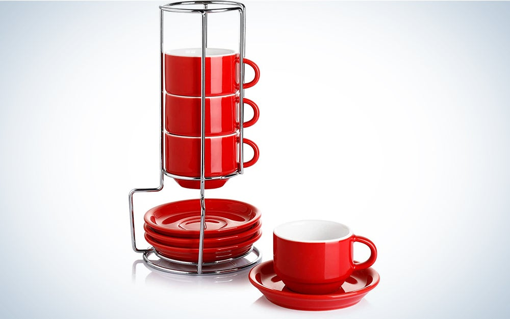 Sweese 405.104 Porcelain Stackable Espresso Cups with Saucers and Metal Stand