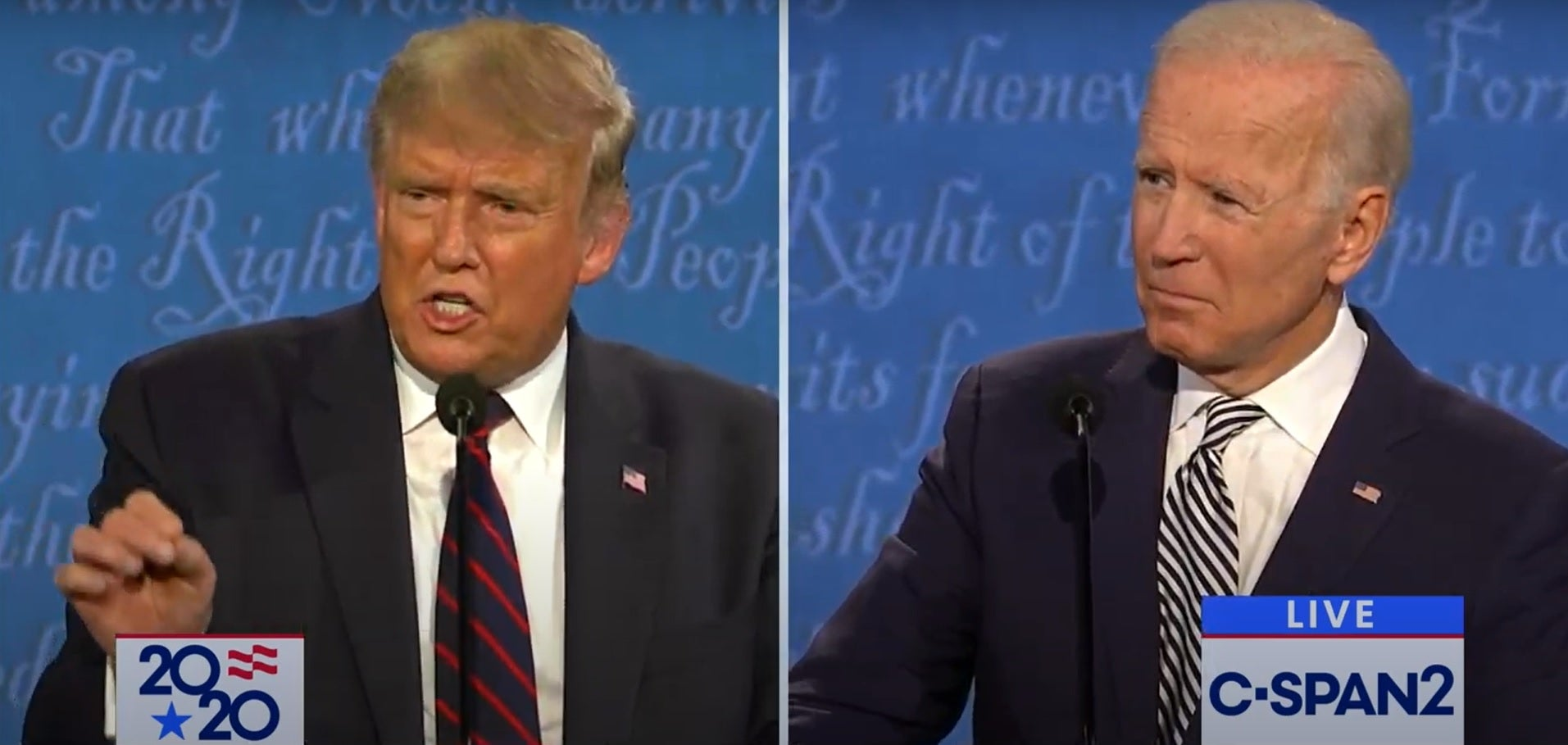 President Donald Trump (left) and former Vice President Joe Biden at the first 2020 presidential debate