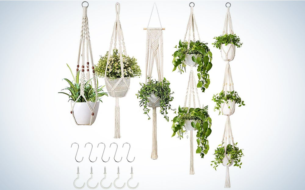 Growneer 5 Packs Macrame Plant Hangers with 5 Hooks, Different Tiers, Handmade Cotton Rope Hanging Planters Set