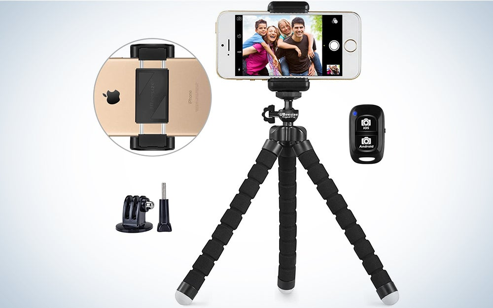 Phone tripod, UBeesize Portable and Adjustable Camera Stand Holder with Wireless Remote and Universal Clip
