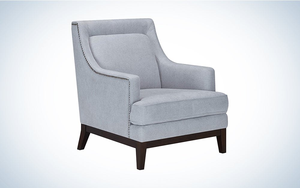 CHITA Fabric Accent Armchair, Living Room Club Chair with Solid Wood Base