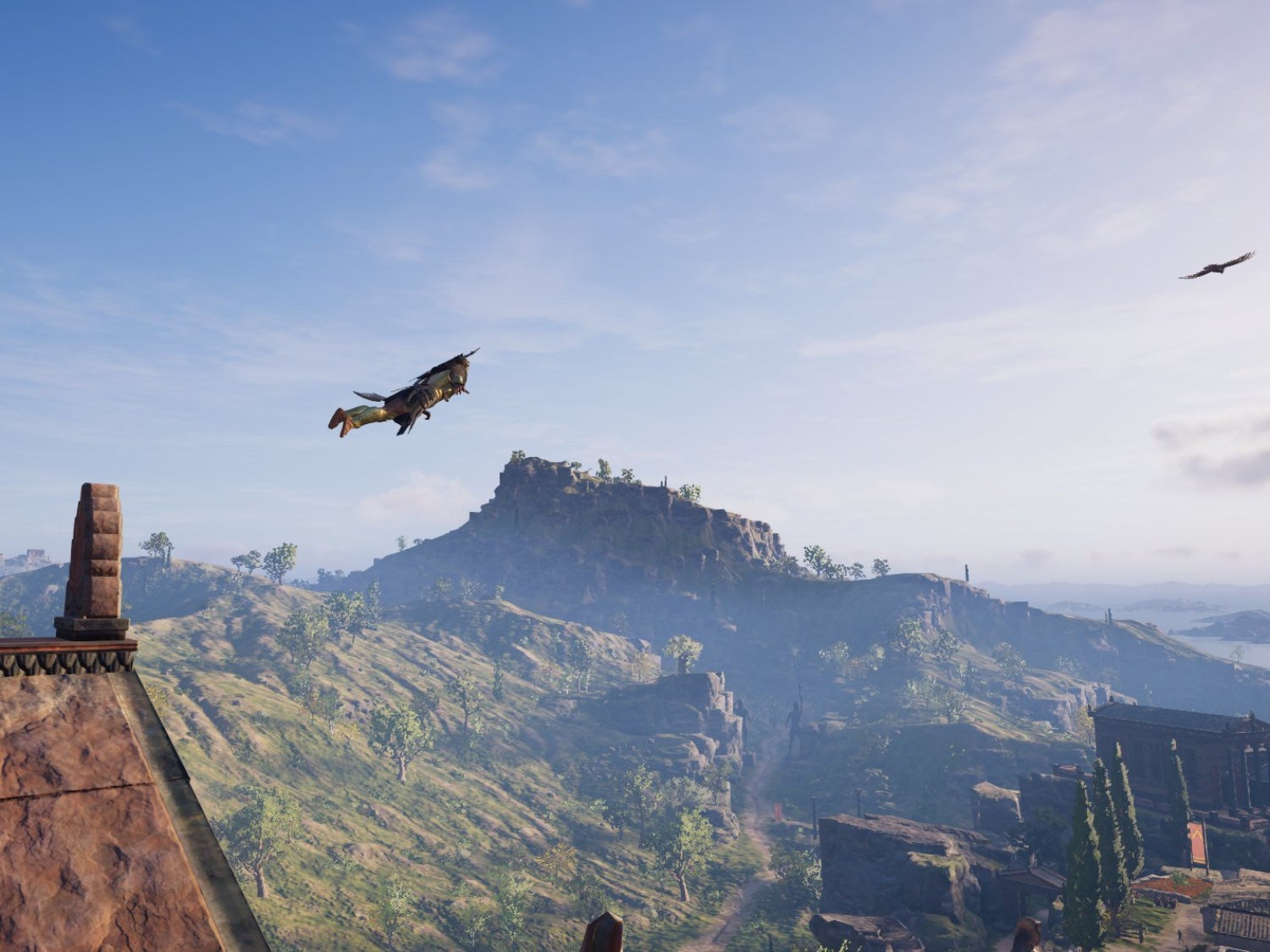 Kassandra taking a leap of faith from the Temple of Athena in Sparta in Assassin's Creed Odyssey