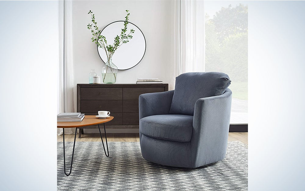 CHITA Swivel Accent Armchair, Performance Fabric Living Room Club Chair with Metal Base