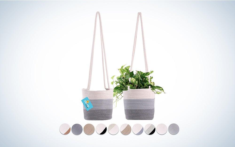 OrganiHaus Set of 2 Hanging Rope Planter Baskets 8″x8″ with Long Hanging Rope